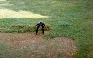 8 35o. Satish-Geeta wedding in Madras, India - mowing the lawn at IIT Madras