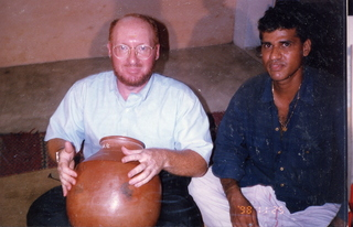 41 35o. Satish-Geeta wedding in Madras, India - Adam playing percussion jar
