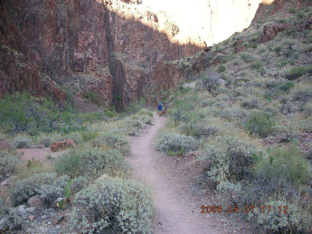 North Kaibab trail from Phantom Ranch -- Adam running in the distance