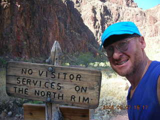 146 5t7. North Kaibab trail from Phantom Ranch -- North Rim sign -- Adam