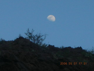 191 5t7. Phantom Ranch -- moon over inner canyon rim
