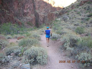 169 5t7. North Kaibab trail from Phantom Ranch -- Adam running