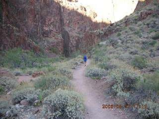 170 5t7. North Kaibab trail from Phantom Ranch -- Adam running in the distance
