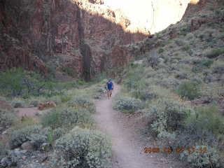 175 5t7. North Kaibab trail from Phantom Ranch -- Adam running in the distance