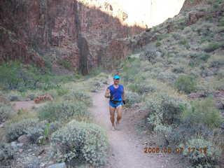176 5t7. North Kaibab trail from Phantom Ranch -- Adam running