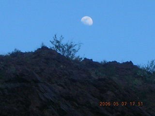 190 5t7. Phantom Ranch -- moon over inner canyon rim