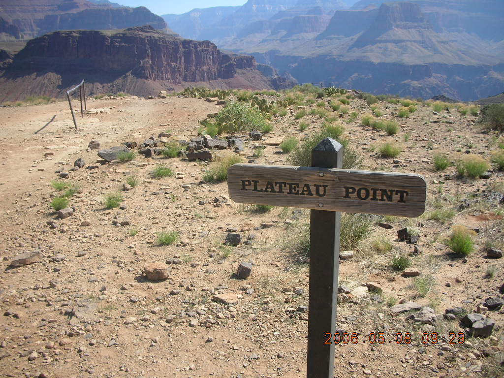 trail to Plateau Point -- sign