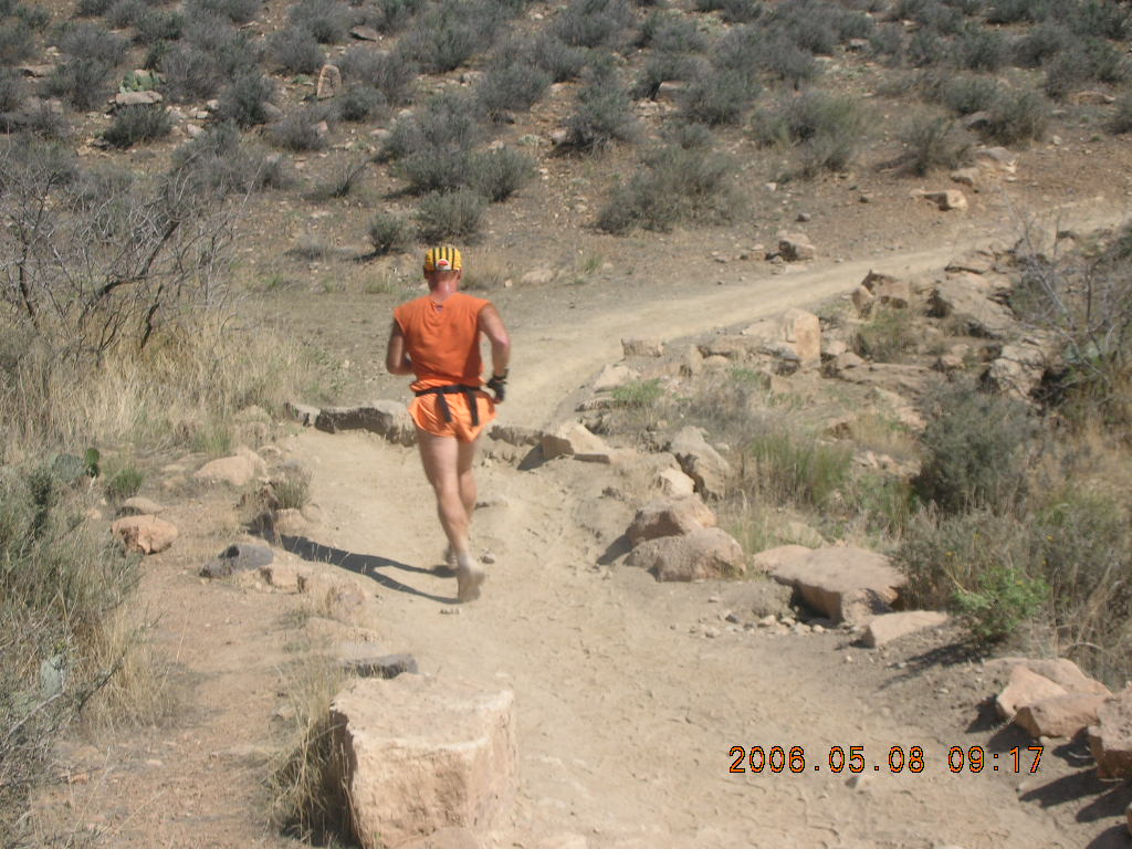 trail to Plateau Point -- Adam running