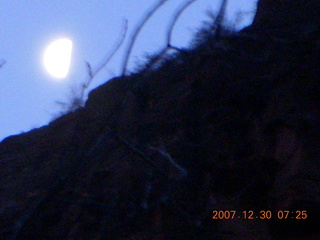 7 6cw. Zion National Park - low-light, pre-dawn Virgin River walk - moon