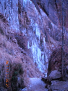 14 6cw. Zion National Park - low-light, pre-dawn Virgin River walk - ice