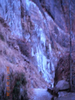 15 6cw. Zion National Park - low-light, pre-dawn Virgin River walk - ice