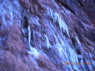 17 6cw. Zion National Park - low-light, pre-dawn Virgin River walk - ice