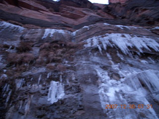 24 6cw. Zion National Park - low-light, pre-dawn Virgin River walk - ice