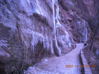 30 6cw. Zion National Park - low-light, pre-dawn Virgin River walk - ice on trail