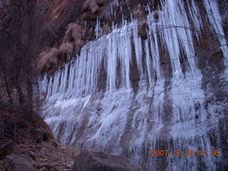 34 6cw. Zion National Park - low-light, pre-dawn Virgin River walk - ice