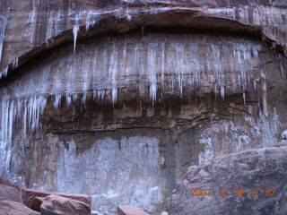 38 6cw. Zion National Park - low-light, pre-dawn Virgin River walk - ice