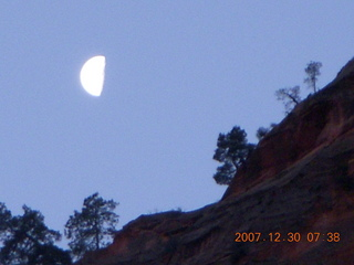 39 6cw. Zion National Park - low-light, pre-dawn Virgin River walk - moon