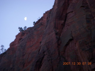40 6cw. Zion National Park - low-light, pre-dawn Virgin River walk - moon