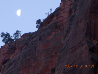 41 6cw. Zion National Park - low-light, pre-dawn Virgin River walk - moon