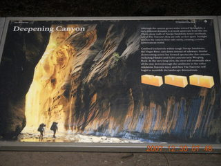 49 6cw. Zion National Park - low-light, pre-dawn Virgin River walk - 'Deepening Canyon' sign with flash