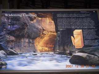 50 6cw. Zion National Park - low-light, pre-dawn Virgin River walk - 'Widening Canyon' sign with flash
