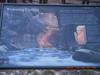 51 6cw. Zion National Park - low-light, pre-dawn Virgin River walk - 'Widening Canyon' sign