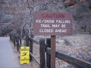 55 6cw. Zion National Park - low-light, pre-dawn Virgin River walk - ice/snow warning signs