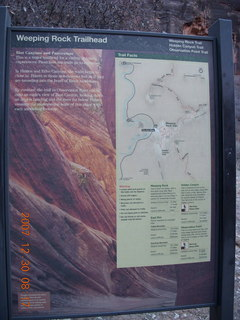 60 6cw. Zion National Park- Observation Point hike - 'Weeping Rock Trailhead' sign