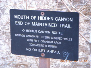 289 6cw. Zion National Park- Hidden Canyon hike - end of maintained trail sign