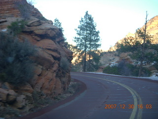 356 6cw. Zion National Park - driving on the road