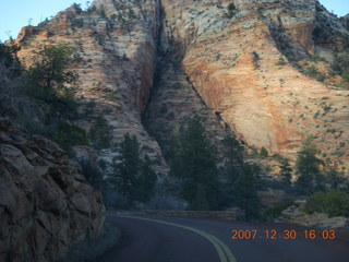 357 6cw. Zion National Park - driving on the road