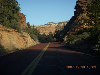 358 6cw. Zion National Park - driving on the road