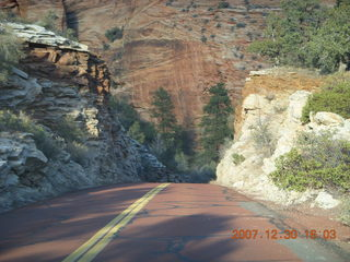 359 6cw. Zion National Park - driving on the road