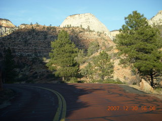366 6cw. Zion National Park - driving on the road