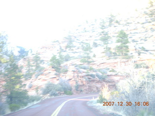 367 6cw. Zion National Park - driving on the road