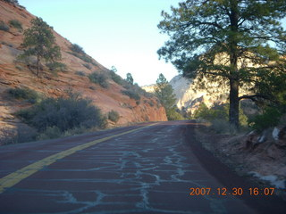 368 6cw. Zion National Park - driving on the road