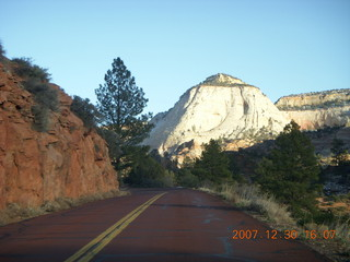 369 6cw. Zion National Park - driving on the road