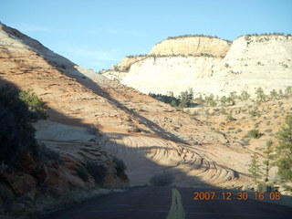 372 6cw. Zion National Park - driving on the road