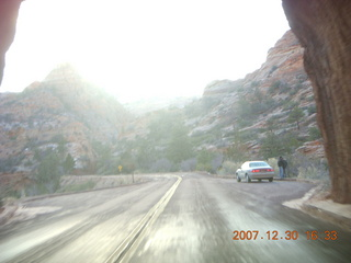 412 6cw. Zion National Park - driving on the road - coming out of tunnel
