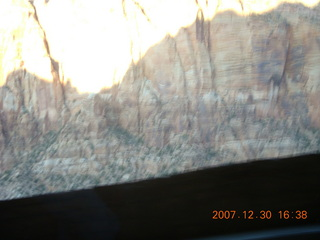 420 6cw. Zion National Park - driving on the road - view from tunnel