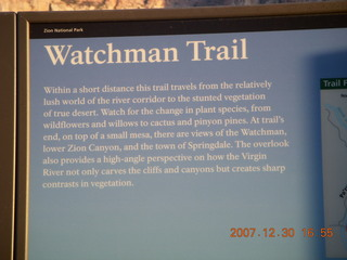 432 6cw. Zion National Park - Watchman Trail hike sign