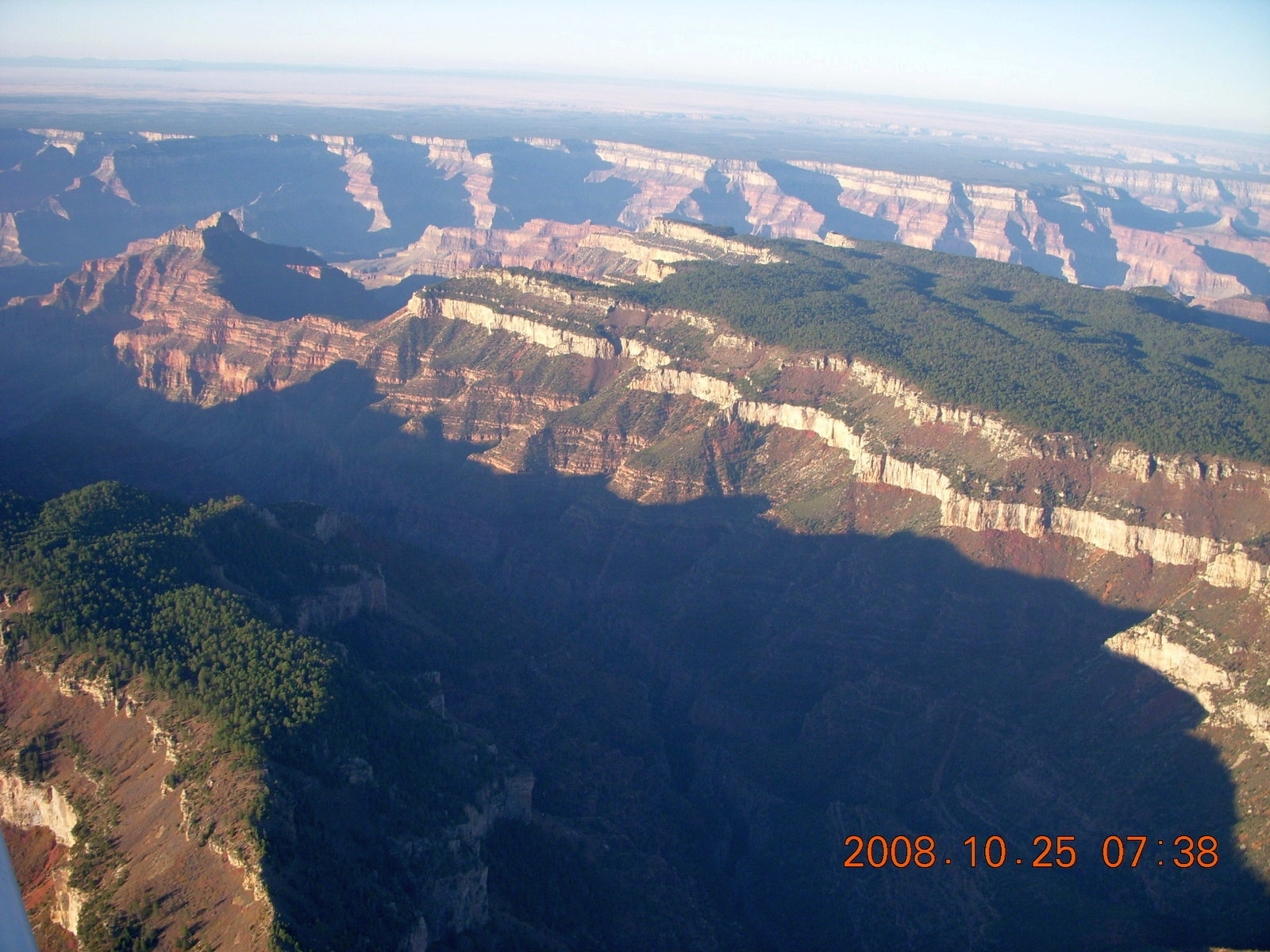 aerial - Grand Canyon just after sunrise