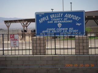 54 6vl. Apple Valley Airport (APV) sign
