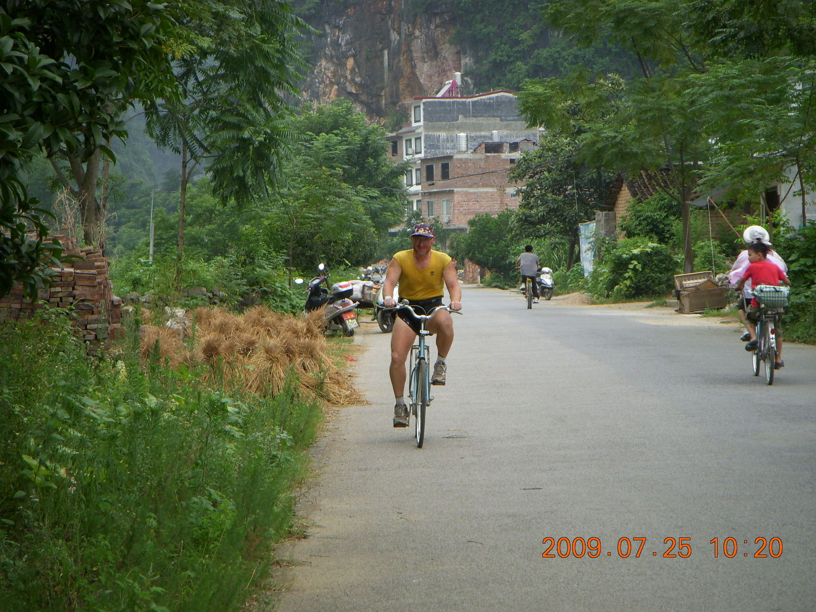 China eclipse - Yangshuo bicycle ride - Adam riding