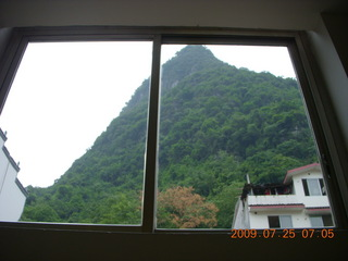 71 6xr. China eclipse - Yangshuo hotel view