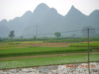 113 6xr. China eclipse - Yangshuo bicycle ride - walk to farm village