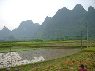 114 6xr. China eclipse - Yangshuo bicycle ride - walk to farm village