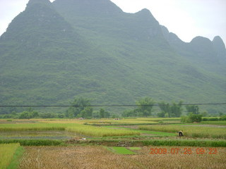 116 6xr. China eclipse - Yangshuo bicycle ride - walk to farm village