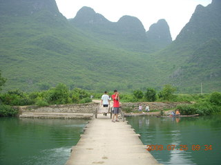 136 6xr. China eclipse - Yangshuo bicycle ride - walk to farm village