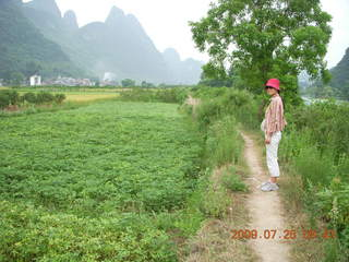 148 6xr. China eclipse - Yangshuo bicycle ride - walk to farm village - Ling